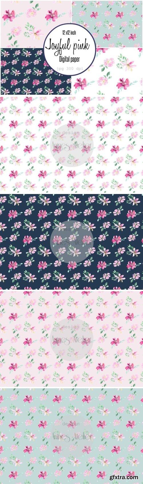 Digital Paper Loose Watercolor Flowers