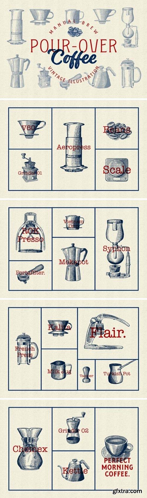 Pour over Coffee Illustration Vintage 1667253