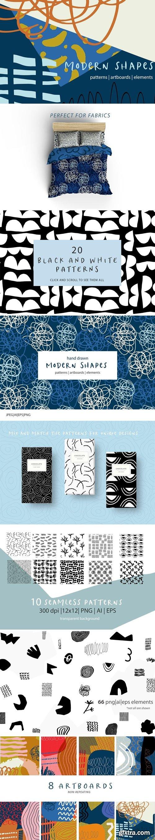 CM - Modern Shapes Patterns & Artboards 3529308