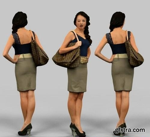 Girl in a skirt with a bag 3D Model