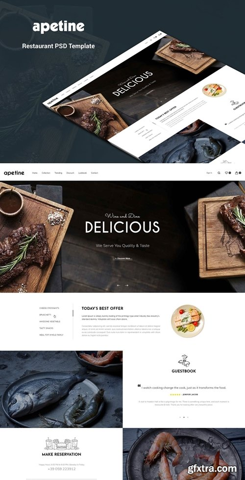 Apetine - Restaurant, Food PSD Template