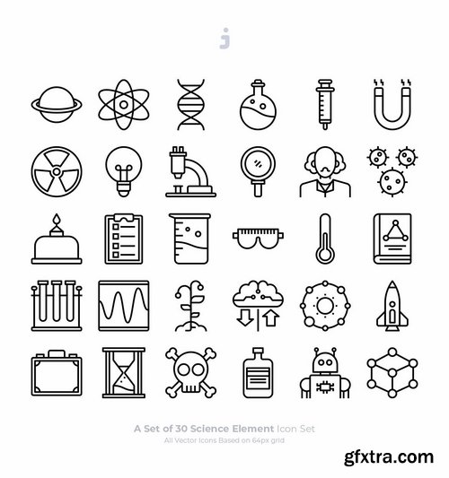 30 Science Element Icons - Outliner