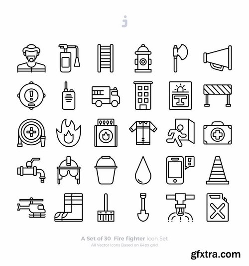 30 Fire fighter Icons - Outliner