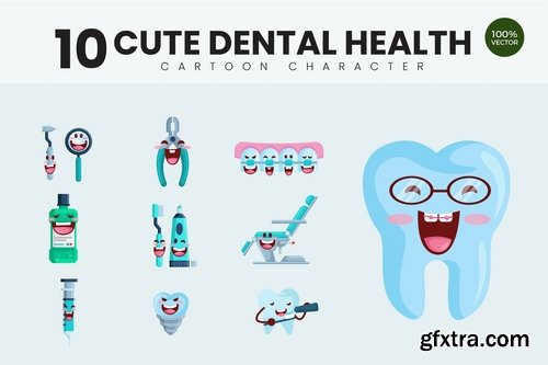 10 Cute Dental Health Vector Illustration