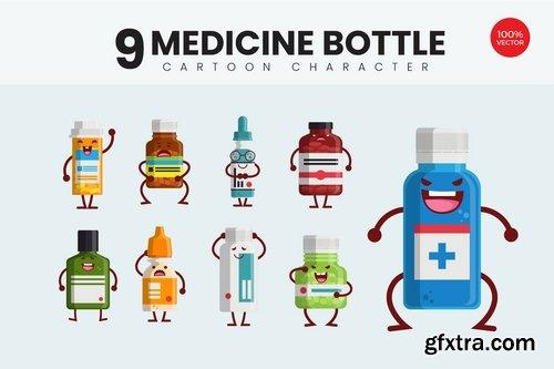 9 Cute Medicine Bottle Vector Illustration