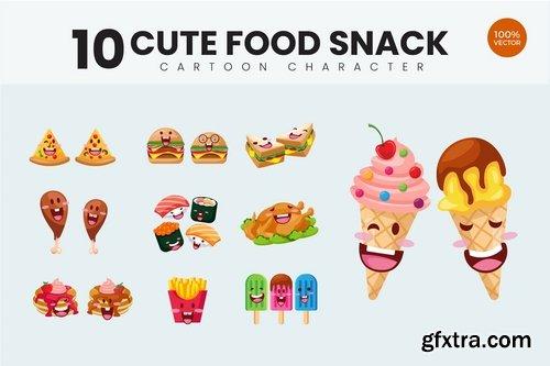 10 Cute Food Snack Vector Illustration Vol.1