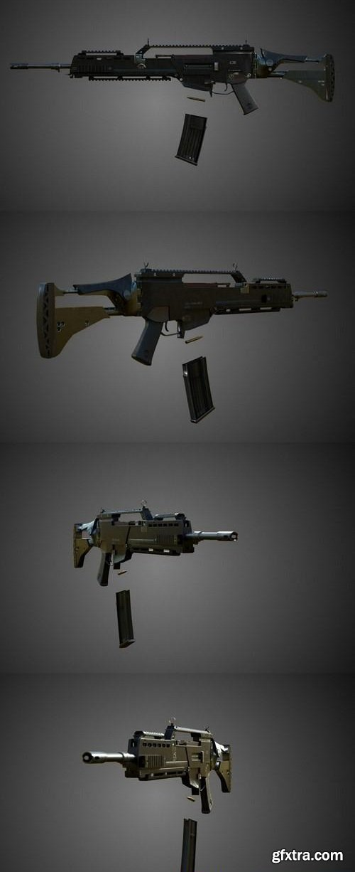 Assault Rifle (Gameready, Rigged)