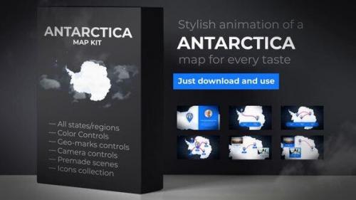 Udemy - Map of Antarctica with Territories - Antarctica Map Kit