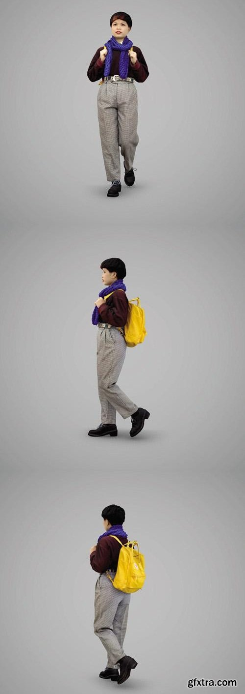 Girl with a yellow backpack 3D Model