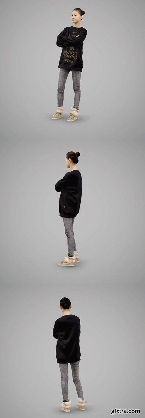 Girl in a sweater and gray jeans 3D Model