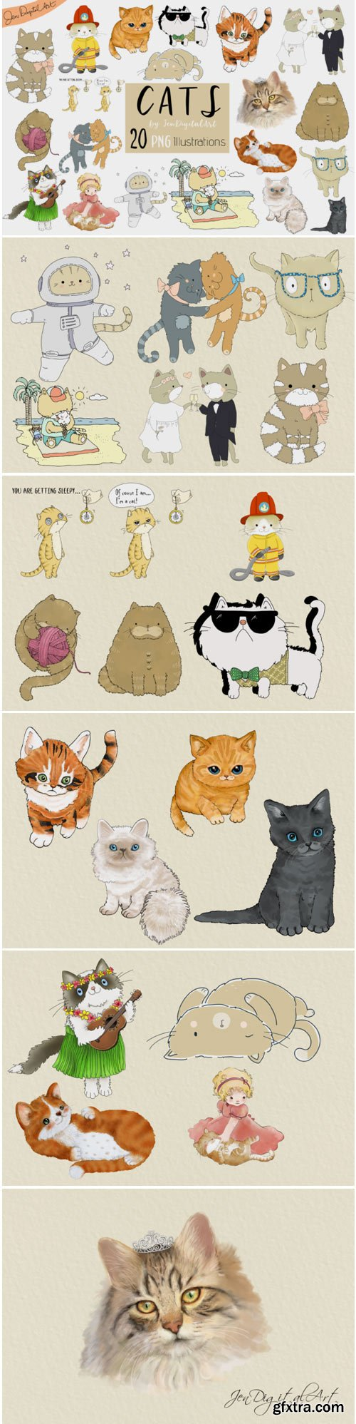 Cats 20 Assorted Illustrations 1701189