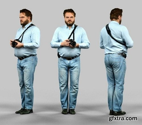 Man with a camera in jeans 3D model