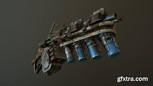 Steampunk RailGun 3D Model