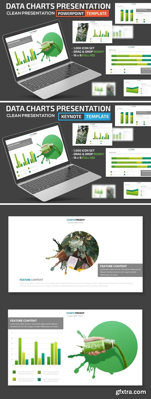 Green Charts Powerpoint and Keynote Presentation