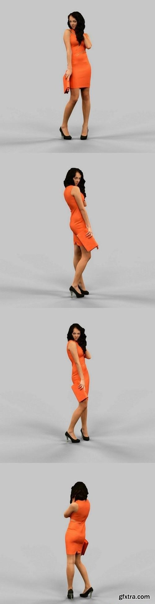 Woman in orange dress 3D model