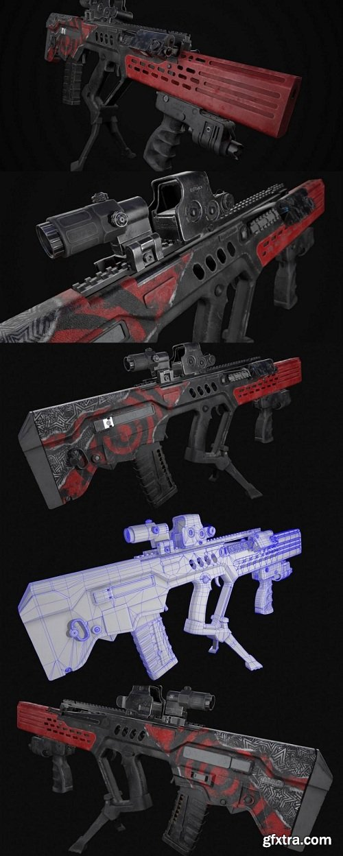 Tar 21 Concept Rifle Art 3D Model