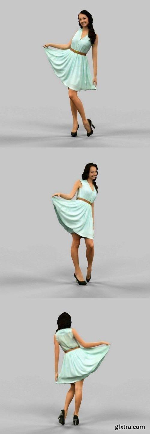 Girl lifting green dress 3D model