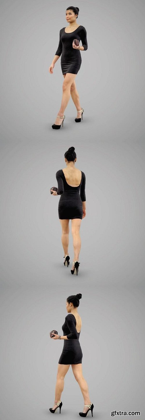 Girl in a tight evening dress 3D Model