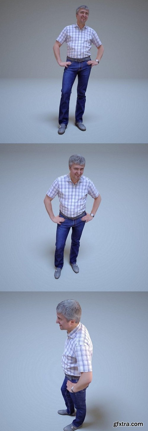Old man in a shirt and jeans 3D Model