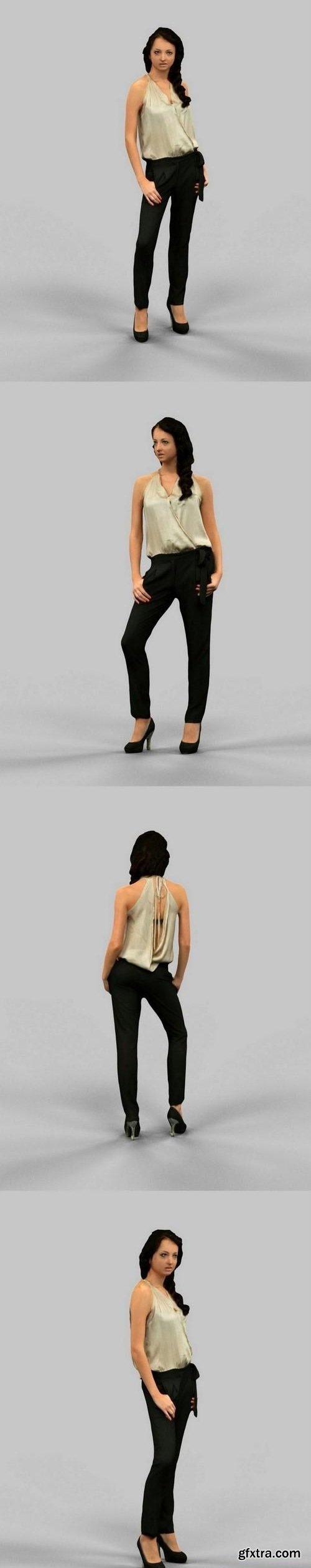 Girl in Black Pants and Golden Top 3D model