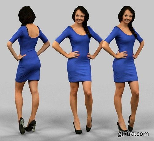Girl in blue dress 3D model