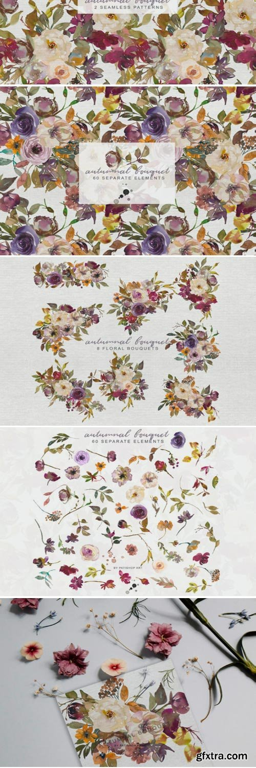 Autumn Flowers Clipart & Patterns 1706301