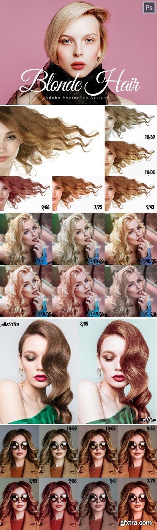 14 Blonde Hair Photoshop Actions 1706244