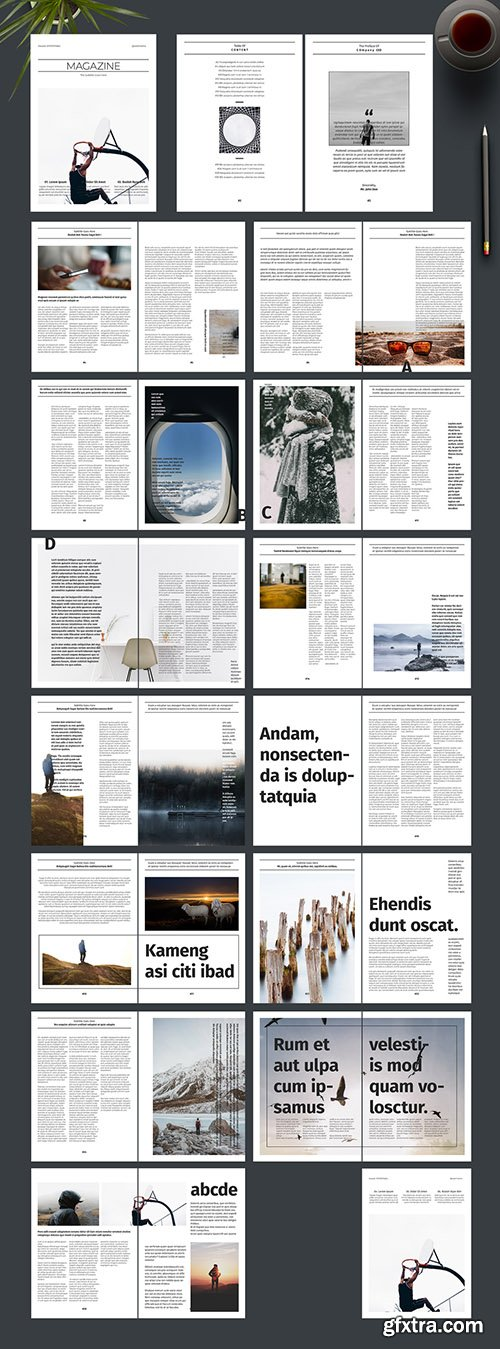 Magazine Layout with Photo Placeholders 242172455
