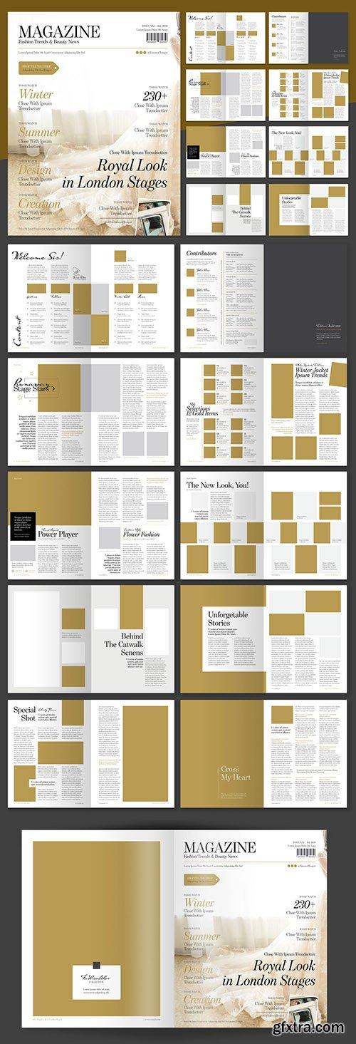 Elegant Fashion Magazine Layout with Gold Accents 238439219