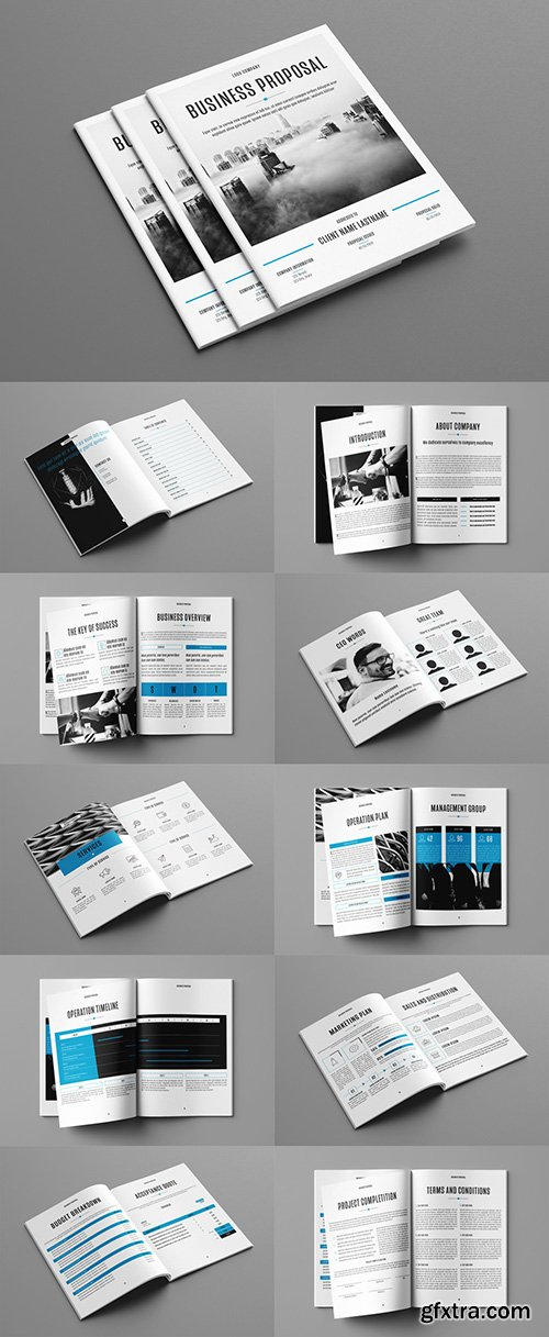 Business Proposal Layout with Blue Accents 241788566