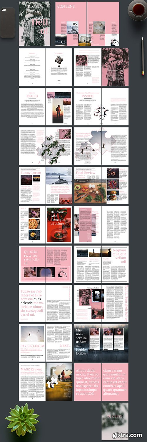 Magazine Layout with Pink Accents 242172431