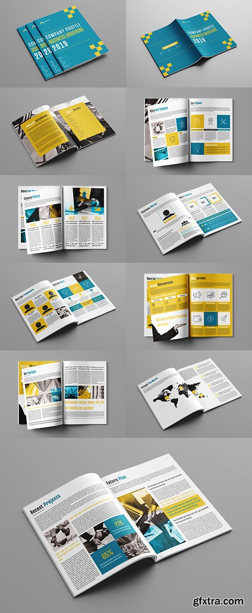 Company Profile Layout with Blue and Orange Accents 241784635