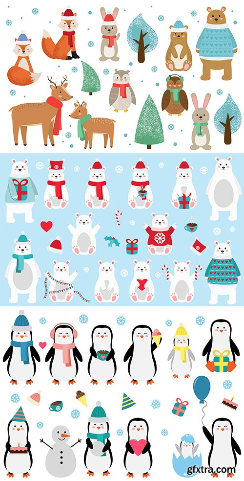 Set of Cute Winter and Forest Animals