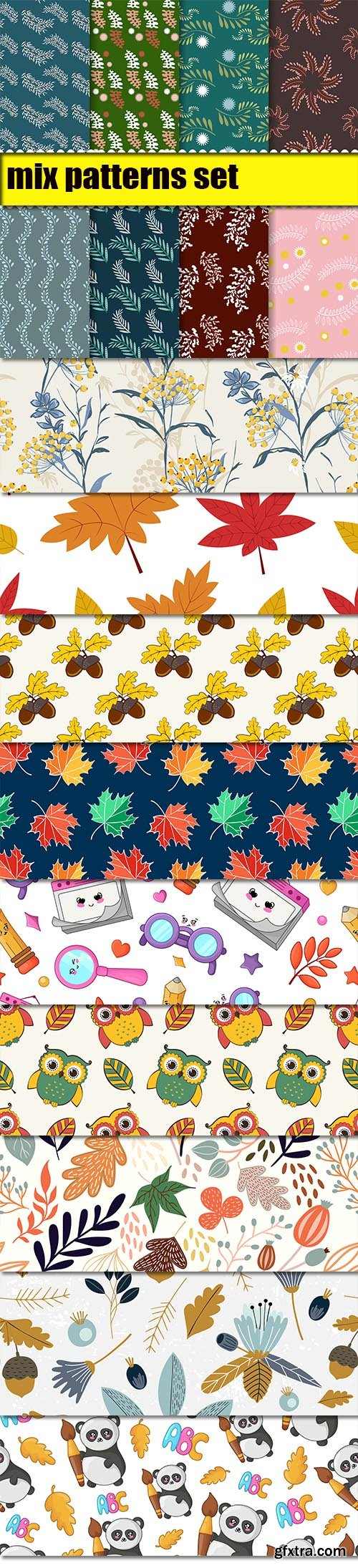 Autumn Leaves and Back to School Seamless Pattern Set