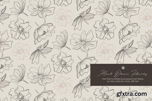 Hand Drawn Flowers Seamless Patterns