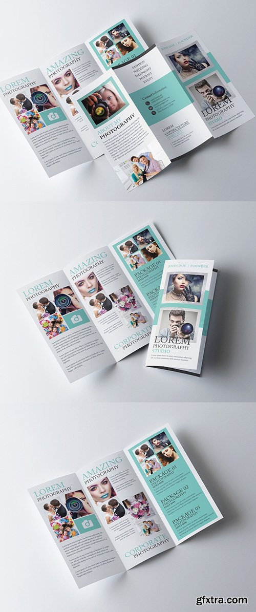 Trifold Brochure Layout with Teal Elements 281868071