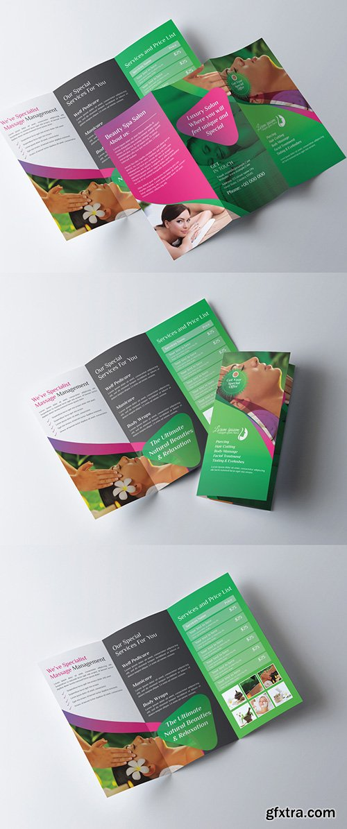 Green Tri Fold Brochure Layout with Pink Accents 278998339