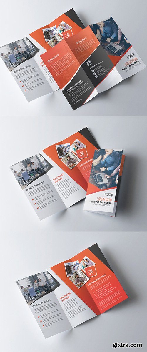 Corporate Trifold Brochure Layout with Orange Accents 281868070