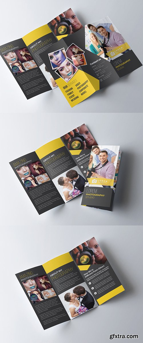 Trifold Photography Brochure Template with Dark Yellow Accents 277926809