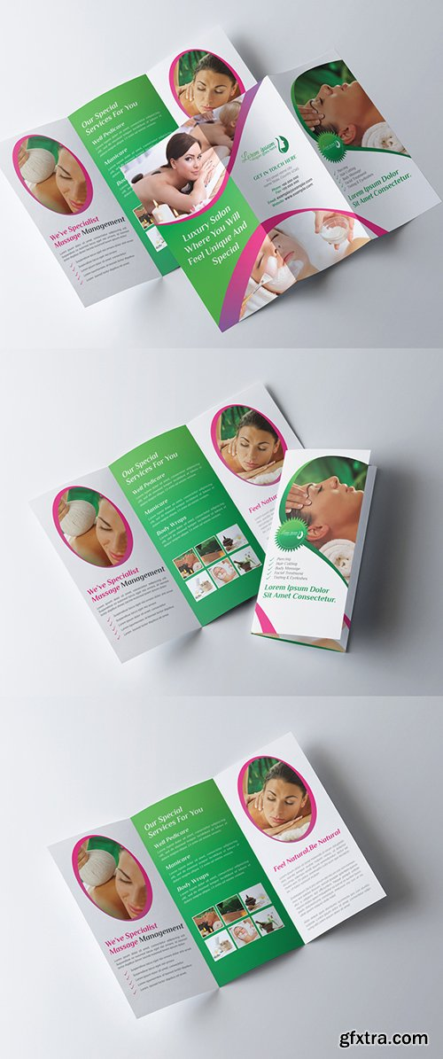 Tri-Fold Brochure Layout with Green and Pink Elements 278613754