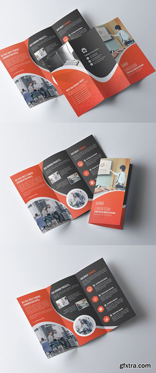 Orange and Dark Gray Business Brochure Layout 277926792