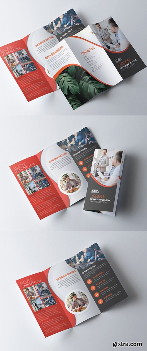 Corporate Tri-Fold Brochure Layout with Red Accents 278613786