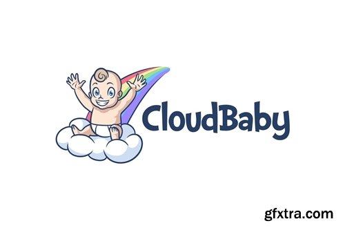 Cartoon Cute Baby On Cloud and Rainbow