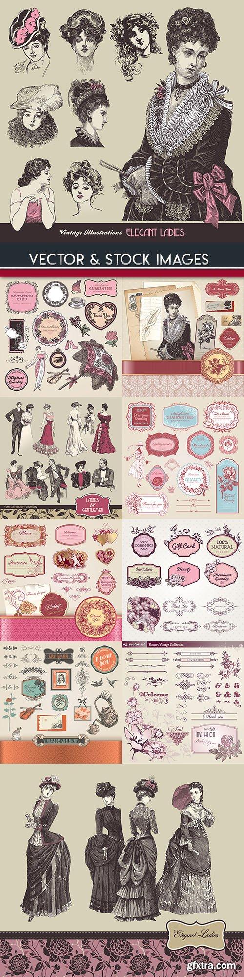 Elegant lady and decorative vintage labels illustration