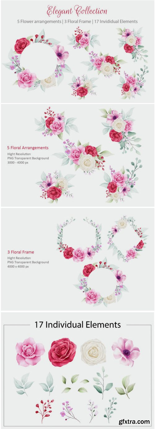 Elegant Watercolor Flowers Collection 1715197