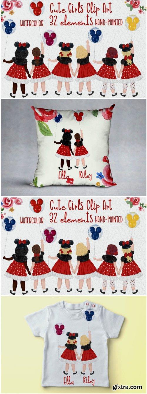 Cute Little Girls Besties Clipart 1714803