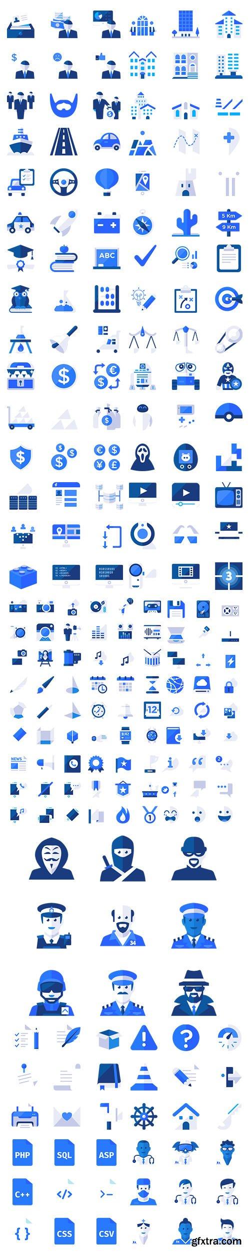 500+ Blu Icons Set