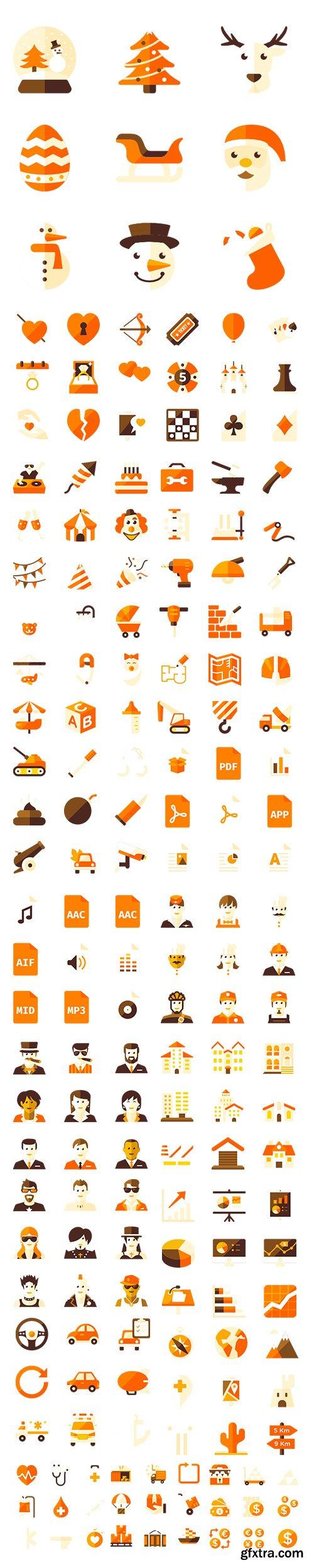 450+ Big Orange Icons Pack