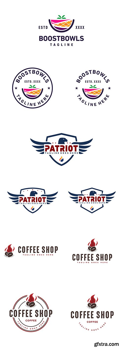 Boosbowls, Patriot and Coffee Bages Logo Set