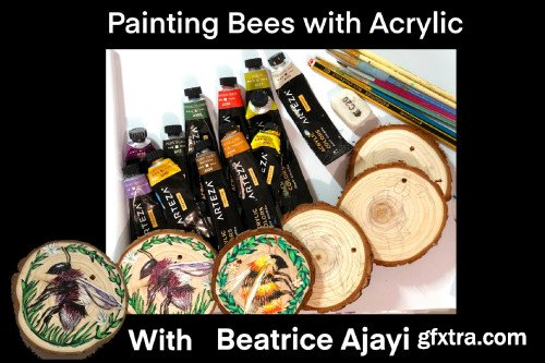 Painting Bees with Acrylic - On Sliced Wood